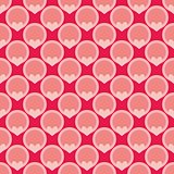 Pink tile vector background with hearts and polka dots
