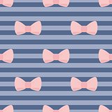 Seamless vector pattern with pastel pink bows on sailor navy blue stripes background