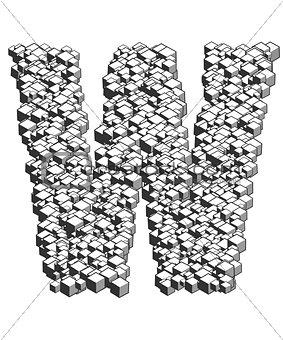 3D Cube Letter W