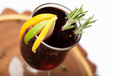 Traditional winter hot alcohol drinks mulled wine with orange, s