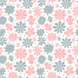 Seamless floral pattern of the colors pink and blue