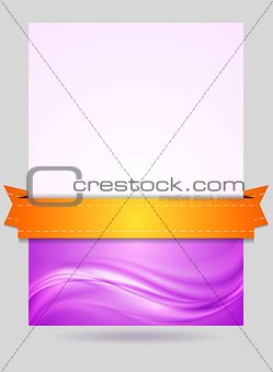 Wavy flyer design with orange ribbon