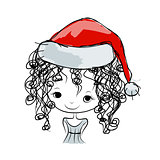 Santa girl portrait, sketch for your design
