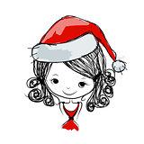 Santa girl portrait, sketch for your design
