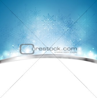Christmas blue background with metal stripe