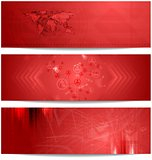 Red tech abstract banners