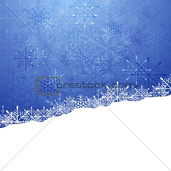 Christmas blue background with snowflakes