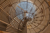 Abstract view through spiral staircase