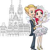 Cute bride and groom make selfie in Prague