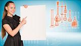Businesswoman holding empty paper sheet.  Laboratory flasks as backdrop