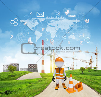 Three-dimensional worker standing on road running through green hills. Cooling towers and cranes as backdrop