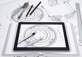 Tablet pc, some draftsman's instruments and technical drawing