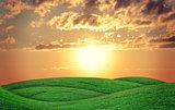 Geen hills at sunset