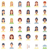 Vector women faces flat icon set