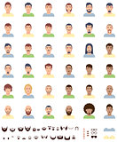 Vector men faces flat icon set