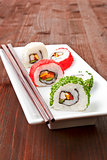 Maki. Luxurious sushi rolls on white plate.