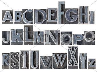 alphabet in mixed metal type