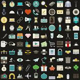 Universal 100 flat icons set