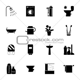 Bathroom silhouettes icons set