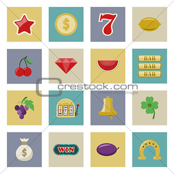 Slot machine and gambling flat icon set
