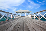 The Beautiful old bridge on Sri chang island at sriracha ampor ,