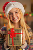 Portrait of smiling teenager girl in santa hat holding christmas