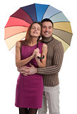 Happy couple with umbrella
