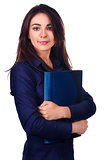 Portrait of business woman with  folder on white background