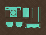 Vector objects in hipster style in brown and blue colors