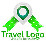 Green geolocation marker vector emblem for travel