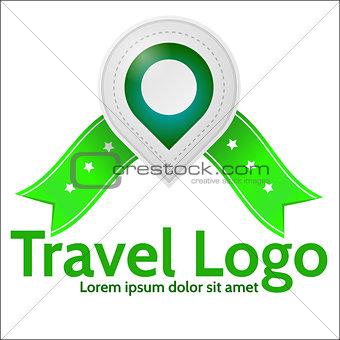 Green geolocation marker vector emblem for travel