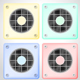 Vector illustration of set of colored ventilations