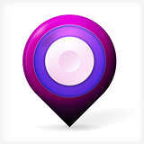 Colored realistic vector icon for marker geolocation