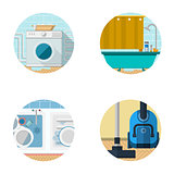 Flat icons vector collection for housekeeping