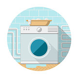Flat vector icon of washing machine in bathroom