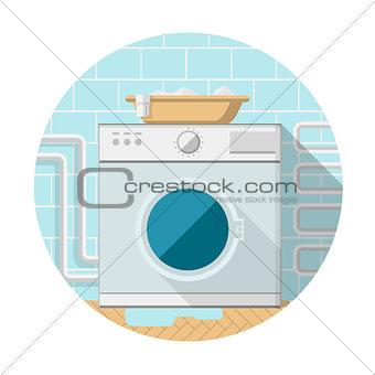 Flat vector icon of washing machine in bathroom