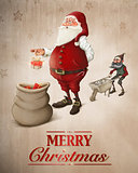 Santa Claus prepares gifts greeting card