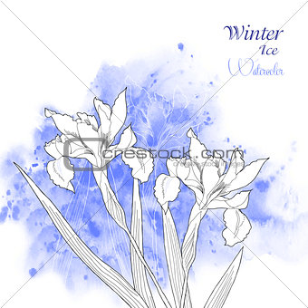 Background  with watercolors and flowers-03