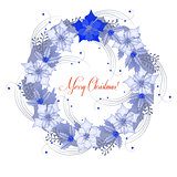 Background  with Christmas wreath and poinsettia