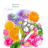 Background  with summer flowers and watercolors-01