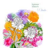 Background  with summer flowers and watercolors-02
