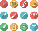 Colored vector icons for genetics