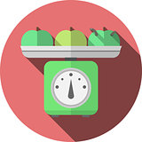 Flat vector icon for kitchen scales with apples