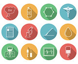 Colored vector icons for anesthesiology