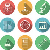 Colored vector icons for bacteriology