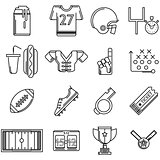 Contour vector icons for American football
