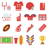 Colored vector icons for American football