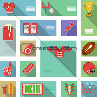American football flat vector icons