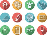 Colored vector icons for neurosurgery