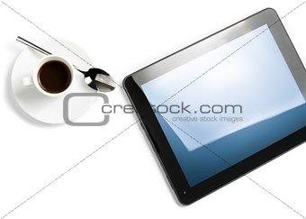 top of view of cup of coffee and digital tablet pc, concept of new technology